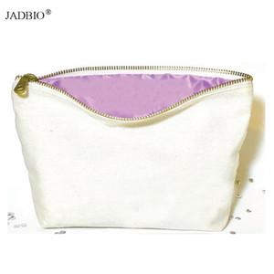 Bolsa de maquillaje de lona ecológica bolsa de cosméticos bolsa de cosméticos de lona lisa de algodón bolsa de belleza maquillaje organzier con cremallera de oro antiguo