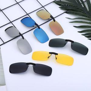 Creativo hombres de las mujeres gafas de sol polarizadas lente Clip Flip-up en lentes de Fashion Night Vision Gafas de sol del clip LT-TTA1269
