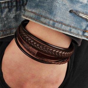 Оптовые мужские плетеные кожаные браслеты повязки Герен в черно-коричневом цвете с магнитным элегантным браслетом для человека
