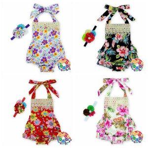 Bébés filles Vêtements Ensembles Backless Floral Volants barboteuses Robe sans manches Romper Bandeau Jumpsuit enfant en bas âge Outfit Salopette pour les filles C696