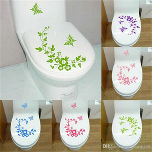 2019 Decorative Butterfly Flower vine bathroom vinyl wall stickers home decoration wall decals for toilet sticker