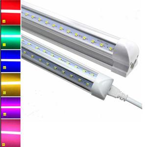 T8 LED 컬러 조명 2피트 3피트 4피트 8피트 V 형 LED 튜브 빨강 파랑 초록 노랑 오렌지 핑크 퍼플 컬러 형광등 교체 램프