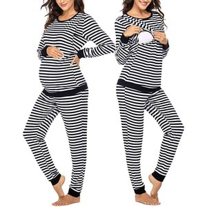 2019 Maternity Outfit Maternity Long Sleeve Nursing T-shirt Tops+Striped Pants Winter Pajamas Set Suit For Women Pregnant 1217