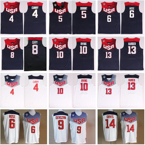 2014 EUA Basketball Jersey Dream Team Onze 4 Stephen Curry 5 Thompson 6 Derrick Rose 10 Kyrie Irving James Harden Kevin Durant Nacional