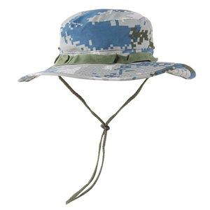 Cubo unisex informal ajustable Sombrero poco voluminoso plegable Parasol Caps mezcla del algodón Pescador casquillo de Sun con la correa de barbilla para hombres de las mujeres
