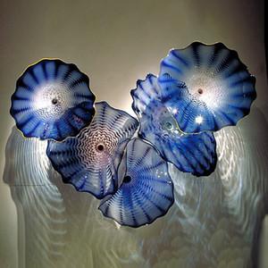 Vendita calda grappolo arte decorativa Glass Wall Art fiore colorato soffiato Wall Plates vetro per la decorazione 10pcs / lot
