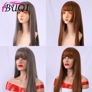 Buqi 2020 Synthétique Fiber Résistant À La Chaleur Quotidienne Faux Cheveux De Haute Qualité Longue Ligne Droite Synthétique Perruque