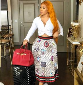 2019 Jupe femme jersey taille haute élastique à rayures imprimée Midi jupe longue plissée Jupe femme grande taille jupe livraison gratuite