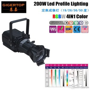 Freeshipping TP-012 Indoor 200W RGBW Stage Led Profile Light 4 Selectable Dimming Curves Powerful 4 Color Spot Fixture 100V-220V