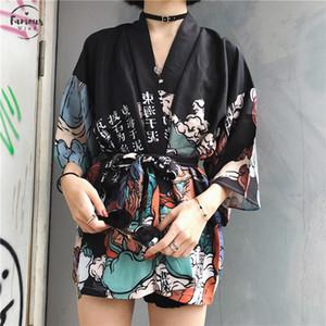 Harajuku Japanese Kimono Print 2020 Chimono Summer Cosplay Yukata Women Tops Sunscreen Lose Bluce 11192