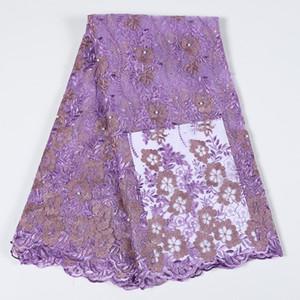 Tessuto del merletto Maroon il nuovo disegno africano guipure Tulle della rete del merletto ricamato francese della maglia tessuto del merletto di alta qualità Stones bf0050