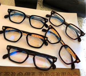 새로운 인기있는 복고풍 남성 광학 안경 SLHOREGASM 펑크 스타일 디자이너 복고풍 사각형 프레임 절단 탄성 다리 가죽 상자 클리어 렌즈