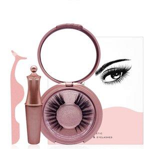 Magnetic Liquid Eyeliner&Magnetic False Eyelashes and Tweezer Set Cosmetic Set For Eyes Free Glue False Eyelashes Makeup Tool
