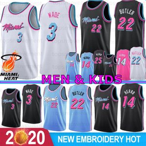 3 Dwyane Wade Miami Heat Homens Crianças College Basketball Jerseys 22 Jimmy Butler 14 Tyler Herro 25 Kendrick Nunn 7 Goran Dragic 2019 2020 New Jerseys