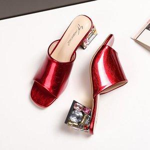 20200528 Summer new style Rhinestone thick heel color matching horseshoe national versatile fish mouth glossy fashion
