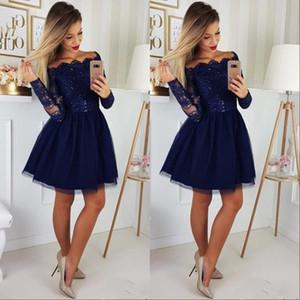 긴 소매 오프 숄더 A 라인 홈 커밍 드레스 네이비 블루 튜레 레이스 아플리케 쇼트 댄스 파티 칵테일 파티 드레스 Vestidos De Festa