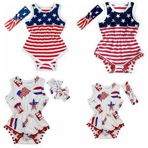 USA Drapeau Jumpsuit Bébés filles Tassel manches Romper Drapeau américain Imprimer barboteuses nouveau-né Kids USA Jumpsuit avec Bandeau GGA3364