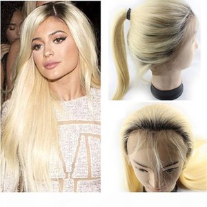 150% Density Ombre Pre Plucked Lace Front Wigs With Baby Hair 12-22 inch Brazilian Straight 1B 613 Honey Blonde Human Hair Wigs