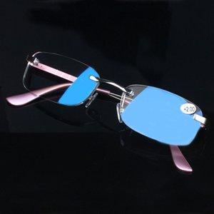 Kadın Erkek Yaşlı gözlük çerçevesiz H Diğer Moda Aksesuar okuma gözlükleri Meixi Mavi filmi toptan alüminyum-magnezyum alaşımı