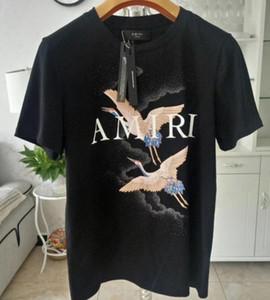 Tasarımcılar Am Tişörtler Yaz Vinç Tasarımcılar Tişörtler Düz Yangın Vinç Beyaz Moda Erkekler Kadınlar Siyah Tees Pamuk Yüksek kaliteli