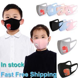 Маски Губка Дети Защитные лица Дети Мальчики Девочки мультфильм Mouth Anti-Dust Ice Шелковый дышащий ушной Моющиеся Многоразовые маски 001