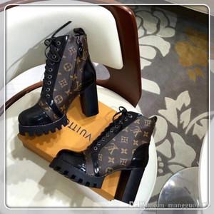 louis vuitton Lv Martin Boots Dantel-up Ayakkabı Sıcak Patent Deri Moda Mujer Kalın Ve Lüks Boots Sıcak Boyutu 35-39 tutun
