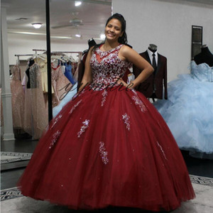 2019 luxury Red Quinceanera Dresses Lace Applique Jewel Neck With Beads Ball Gowns Junior Sweet 16 Princess Pageant Dress For Girls