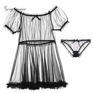 Mousse sexy Tulle diversión tentación ropa interior princesa vestido pijama sexy palabra hombro tutú de malla transparente Estiramiento transpirable