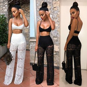 Mesh Women 2 Piece Outfit Set Ladies Sleeveless Tank Top and Lace Long Pants Set Summer Clubwear Women Casual Outfit