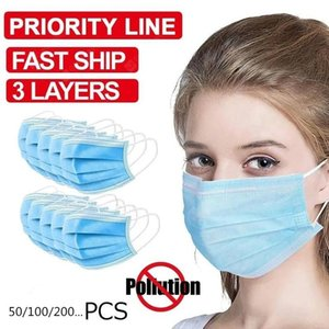Mask In Stock Mascherine 3-Ply Disposable Face Mouth Anti-Haze Dust Proof Earloop Mask Protective Products Anti-fog Masks ZZA1919 Blue