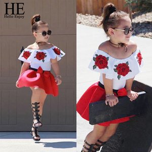 HE Hello Enjoy Girls Clothes Set Embroidery Rose Tops+Skirts Outfits For Baby Girl Suits Children Girls Summer 2019 Kids Clothes Y200525