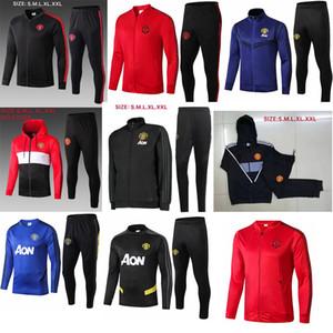 19 20 manchester homens terno treinamento Lukaku Rashford sportswear jaqueta de futebol azul do pé correr 2019 Pogba United Soccer Treino