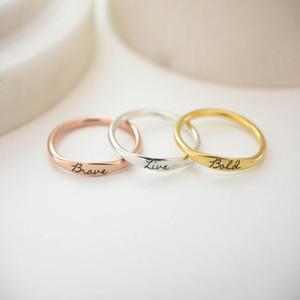 مجوهرات الزفاف ثلاثة اللون حساسة اسم مخصص رجل حلقة المقاوم للصدأ شخصية حلقات التراص ل ون العروس هدية