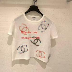 2019 marca tops mujer carta blanca bordado manga corta camiseta de punto mujer cardigan de punto suéter de alta calidad ropa de mujer TS-10