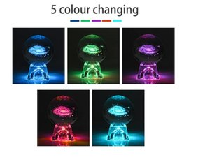 6cm 3D Engraved Galaxy solar Crystal lamp night light luminous Craft Glass round Sphere Home office table Decor lamp