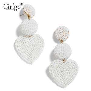 Girlgo Boho Fashion Love Heart Orecchini a goccia fatti a mano per le donne Gioielli di tendenza