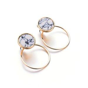 Новая Мода Геометрические Мраморные Белые серьги для Женщин золотой цвет простой дизайн свадьба подарок Ювелирных Изделий