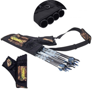 Quatro tubos Caça Bolsa Outdoor Voltar Shoulder Bags Camo Preto Canvas Archery Bow Arrow Caso Pot Sac Titular Package Belt Quiver alça da mala