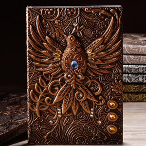 DHL A5 Phoenix Vintage PU leather hard cover notebook,Classic Creative 3D embossed nd leather notebook,Travel Journal 100 sheets 21*14cm