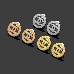 Hoch Polier aushöhlen Ring Blumen Ohrringe Gold Silber Rose Farben Edelstahl Ohrstecker für Frauen-Party-Geschenke Drucken Großhandel