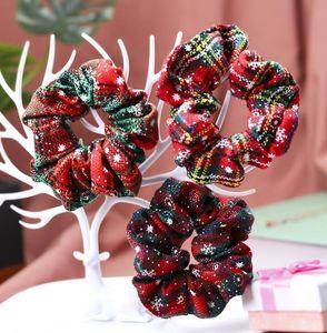 Weihnachten Scrunchies elastische Haar-Bänder Rot Grün XMAS Schnee elastischer Ring-Haar-Riegel Plaid Pferdeschwanz-Halter-Dame Mädchen Haarband GGA2927-1
