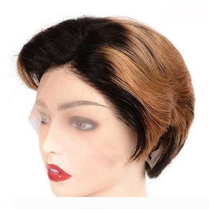 8 Inch Short 13*4 Lace Front Wigs Glueless Ombre 1B 30 Color Human Hair Wigs with Pre Plucked 150% Density for Black Women