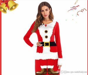 Dress occidentale Babbo Natale con Uniformi nastro digitale stampato Maniche lunghe rosse del vestito da Cosplay di Natale