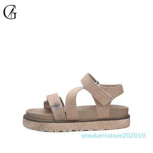 GOXEOU Kadın Sandalet Haki Süet Roman Kalın Sole Rahat Rahat Plaj Ayakkabı s10