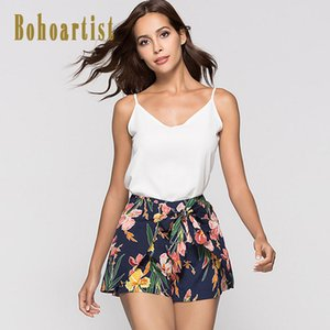 Bohoartist Женщина кулиская Короткие штанов пляж Цветочные печати BOWKNOT 2020 Стильные женщины Летних отдых артистических шорты для девочек
