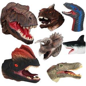 Soft Vinyl Rubber Animal Head Puppet Figure Toys Gloves For Children Model Gift Dinosaur Hand Puppet Toys For Children