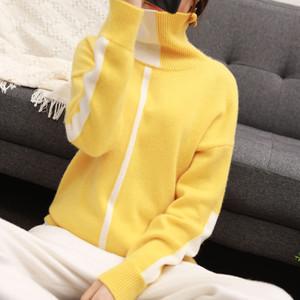 BELIARST Automne et Hiver nouveau Haut Col Femmes Mode Pull Couture Pull en cachemire mince mince chaud tricot talonnage