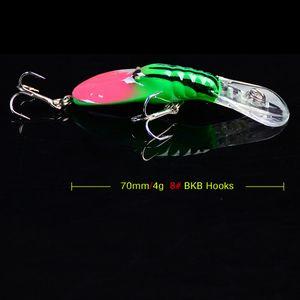 Neue 12 Farben Kunststoff 8 # 3 Haken Künstliche garnelen Fischköder 7 cm 4g Big Deep Sea Bass Crankbait Künstliche Wobbler