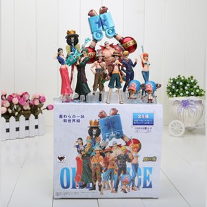 10pcs / set Anime Figuras de Ação One Piece 2 anos mais tarde Luffy Zoro Sanji Usopp Brook Franky Nami Robin Chopper CJ191213