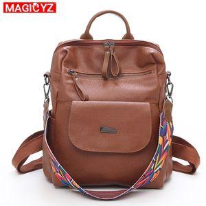 Magicyz Vintage Retro Women Backpack School Colorful Strap Leather Bag School Backpacks For Teenage Girl Large Mochila Feminine J190706